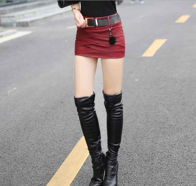 2020 Plain Faux Leather Skirt Black Mid Waist with Belt Sexy PU Skirts Women Elegant Sheath Above Knee Mini bottom red black