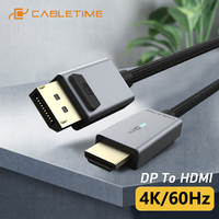2021 CABLETIME DP to HDMI 4K/60Hz Cable HDMI LED Light Displayport Converter for Laptop PC Macbook Air Acer Dell HDMI Cable C313