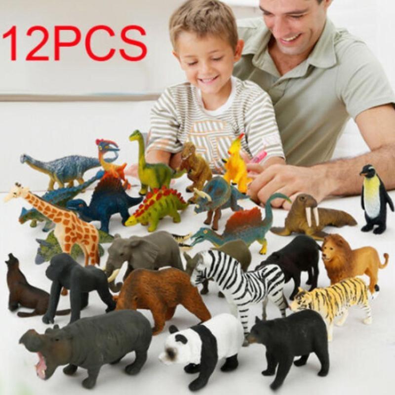 12pcs/set Mini Animal Model Simulation Dinosaurs Marine Animals Wildlife Model Animals World Model Educational Toys For Children
