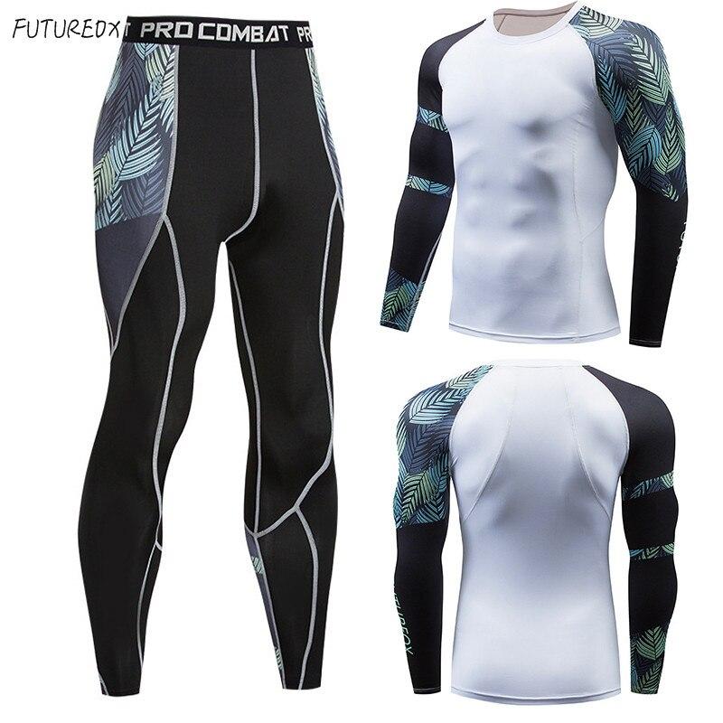 Heat! 2018 Men's T-shirt MMA Long-sleeved T-shirt Men's Compression Shirt Fitness Bodybuilding Black White Men's Sportswear Suit