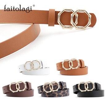 Double Buckle Black Belt for Women White Brown Leather Ladies Dress Wasit Belt Fashion Wild Girl Female Belts pasek damski 2.4cm