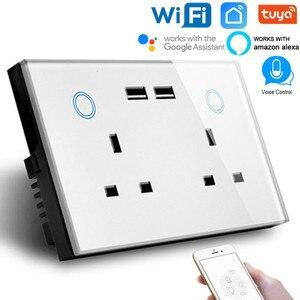 2 банды Великобритания 13A сенсорный выключатель штепсельные розетки двойной USB Розетка wifi умная розетка с usb 2,0 совместимый с Alexa google assistant