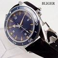 Мужские часы Bliger 41 мм с керамическим вращающимся ободком с окошком даты и сапфировым кристаллом Luminou  автоматические наручные часы