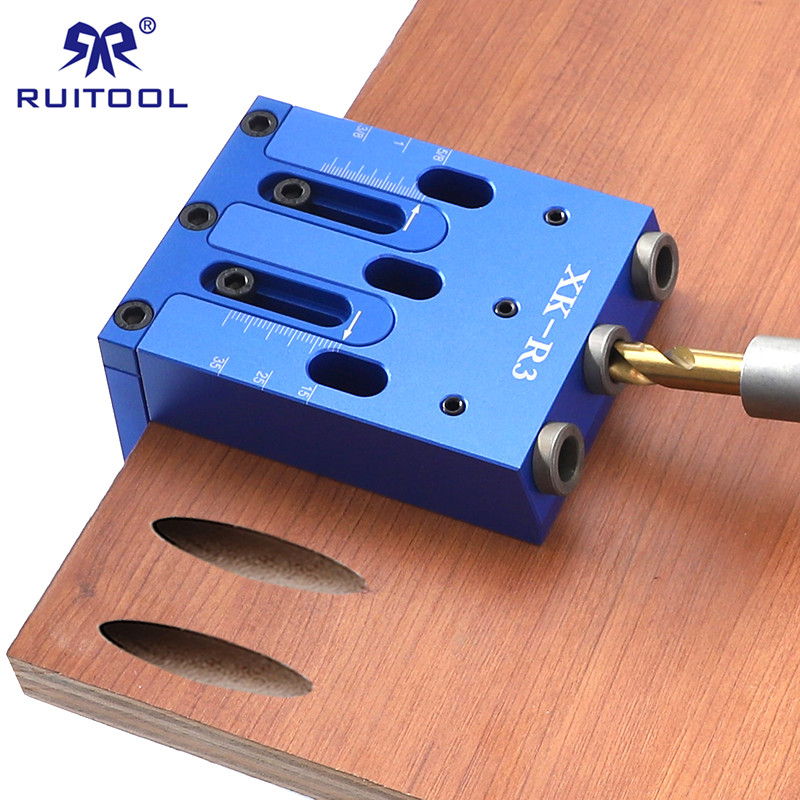 3-Hole Drill Guide 9mm Pocket Hole Jig Wood Drill Aluminum Woodworking Doweling Locator