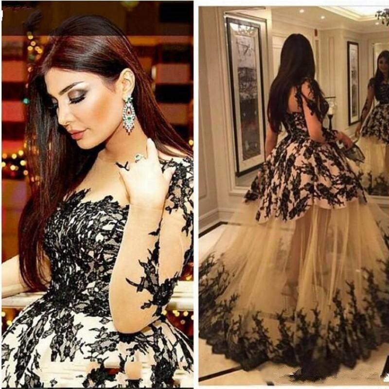 evening-dress-sheer-bodice-kim-kardashian-haifa-eman-alaj-floor-length-yousef-aljasmi-long-sleeve-lace-ball-gown-zeena-zaki-black-lace_