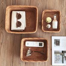 Handmade Rattan Storage Baskets Household Items Snacks Fruit Tea Bread Picnic Cosmetic Rattan Box Kitchen Supplies Organizer