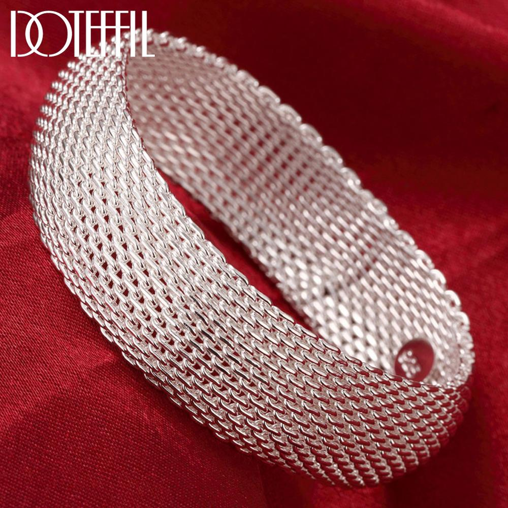 DOTEFFIL Genuine 925 Sterling Silver Braided Bangles For Women Wedding Engagement Party European American Style Bracelet Jewelry