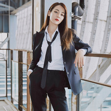 Star Same Black Suit British Style Handsome Thin Waist 2019 Notched Single Breasted Women Jacket Coat
