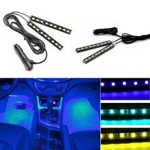 Multicolore Auto 9 LED 2 In1 Interni Atmosfera Luci Dash Pavimento Piede Luci di Striscia Adattatore Per Accendisigari Lampada Decorativa