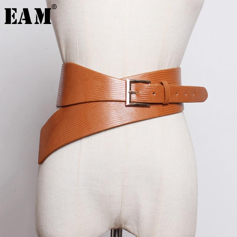 [EAM]  Pu Leather Asymmetrical Buckle Split Long Belt Personality Women New Fashion Tide All-match Spring Autumn 2020 19A-a297