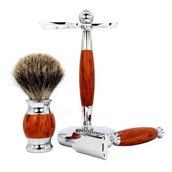 Men's Manual Shaver Set Retro Double-sided Old-fashioned Manual Woodgrain Long Shaver Holder 5