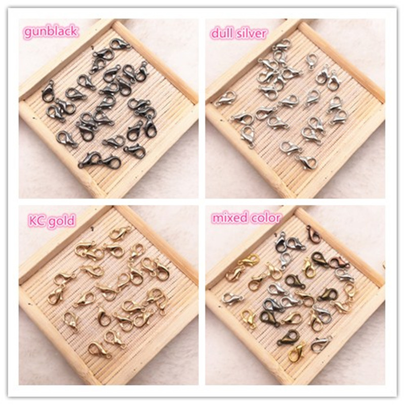 50pcs 10mm Metal Lobster Clasps Hooks for Jewelry Finding KC Gold/Silver/Gun black Color Connect Buckle DIY Necklace&Bracelet