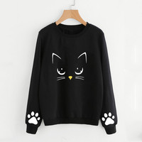 JAYCOSIN Women's Sweatshirts Autumn Round Neck Long Sleeve Hoodies Sweatshirt Women Cat Print Tops  Hoodie Poleron mujer 19JUL25