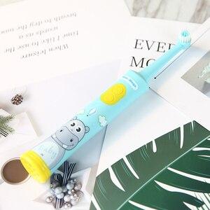 Image 5 - HERE MEGA Kinder Rotierenden Baby Elektrische Zahnbürste Reinigung Bleaching Timer Kinder Musical Zahn Pinsel USB Aufladbare