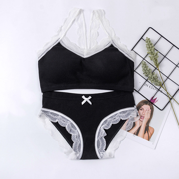 Female Bra Set Seamless Lingerie Active Brief Sets Cotton Comfortable Breathable Wire Free Underwear Women