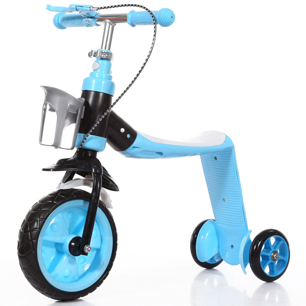 2 In 1 Kids Child Scooter Balance Car Children's Balance Bike Baby Multifunctional Tricycle With 3 Wheels Stand Seat Folding
