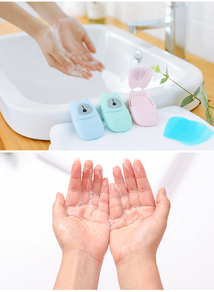 Portable Mini Travel Soap Paper Washing Hand Bath Clean Scented Slice Sheets Disposable Boxe Soap US warehouse leave note 1