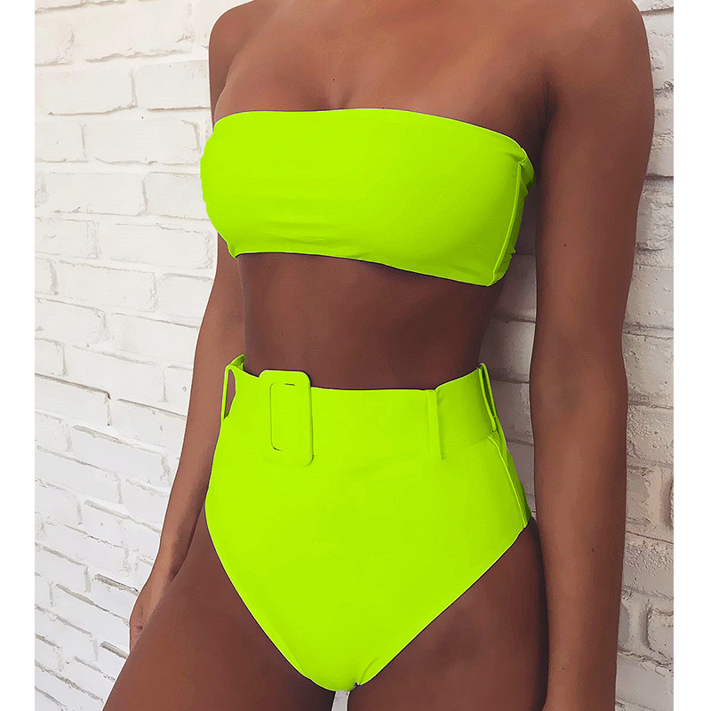2019 Sexy High Waist Bandeau Bikini Swimwear Women Push Up Swimsuit Female Bikini Set Bathing Suit Brazilian Beach Wear Biquini