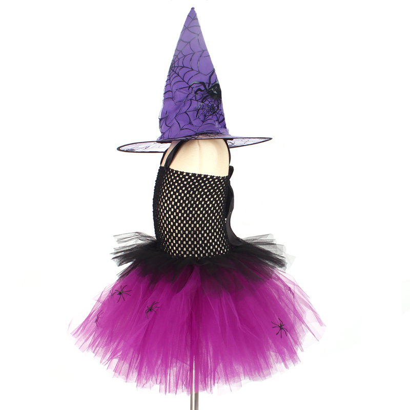 Spider Girls Witch Tutu Dress with Hat Black Purple Children Halloween Carnival Cosplay Witch Costume Kids Party Fancy Dresses (3)