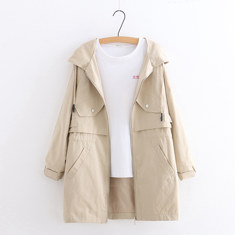 2019 Autumn Women   Basic     Jacket   Hooded Fashion Solid Color Pockets Outwear Loose Casual Plus Size Chothing