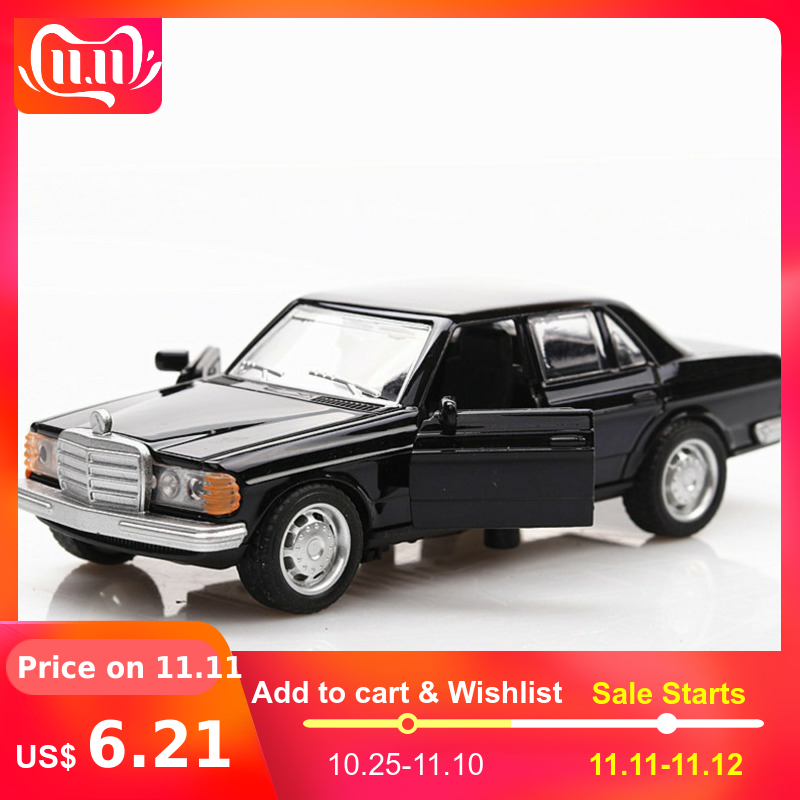 1:36 Boxed Simulation Car Model Toys For Mercedes Benz E-class W123 Classical Car Retro Autos Pull Back Function 2 Doors Opened