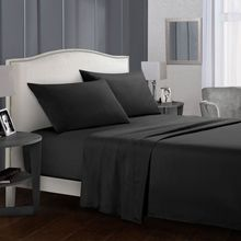 Sanding Fitted Bedding Sets 4pcs Flat Sheet Pillowcase Queen King Size Mattress Cover Black Bed Cover Solid Color Bed Linen