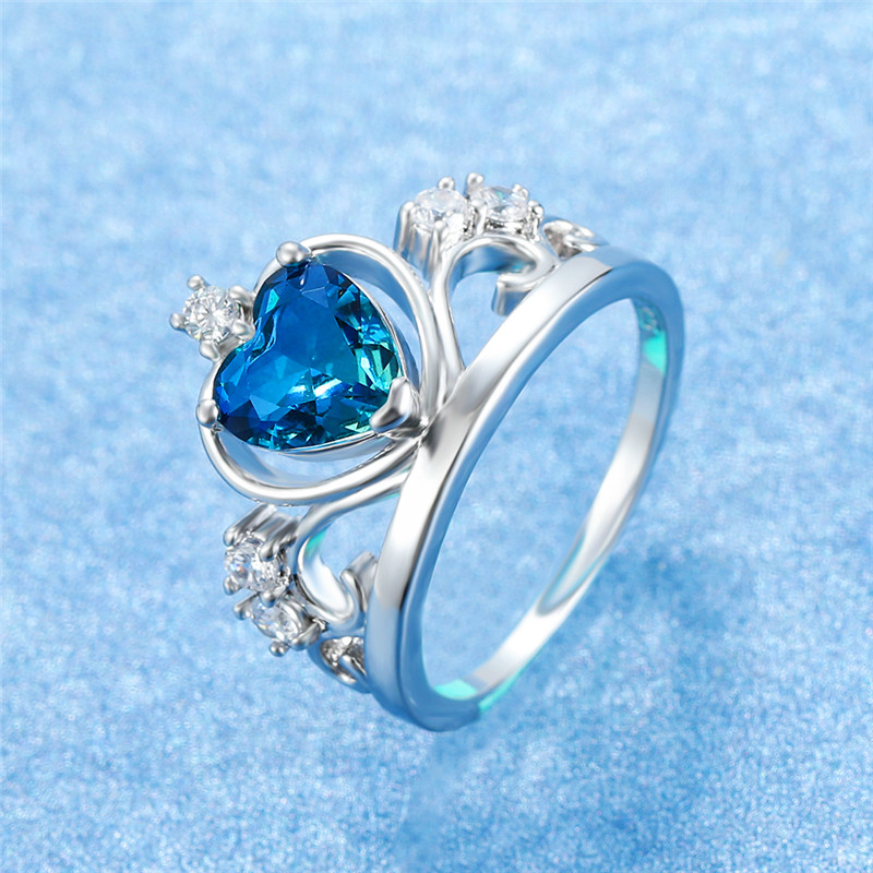 Heart-Crown-Ring Rainbow-Zircon Silver Filled Promise Gold Female Fashion Women Luxury