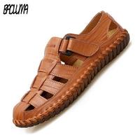 Men's Sandals Genuine Leather Outdoor Sandals Summer Handmade Men Crocks Shoes Men's Sandals Breathable Summer Walking Sandals