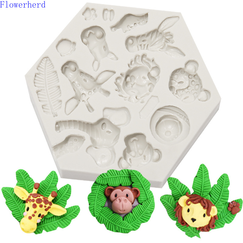 Fondant (сахарная) пресс-форм лес силиконовая формочка в виде животного слона, жирафа Лев Обезьяна Животное шоколадная форма для выпечки тортов...