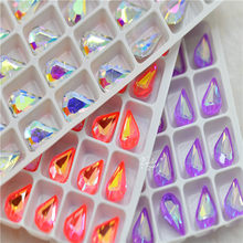 8x13mm Small gems Teardrop Pointback Crystal Fancy Stone Glass Jewelry Beads Earing making clothing crafts