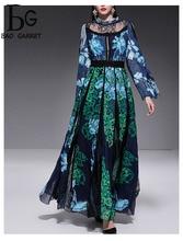 Baogarret Elegant Runway Long Sleeve Maxi Dress Womens Sexy Black Lace Patchwork Floral Print Party Dresses Vestdios