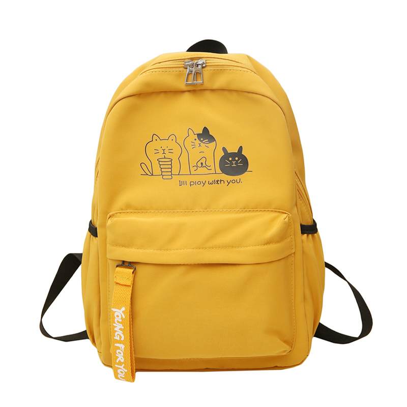 Teen Girl Backpack Cute Cats Pattern Women's Casual Bag Students Bookbag Literary Style Simple Backpack
