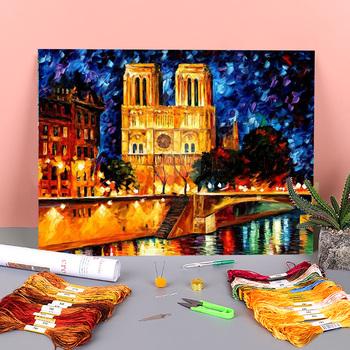 Notre Dame De Paris tkanina z nadrukiem 11CT haft krzyżykowy DIY wzory haftu DMC nici dziewiarskie szycie malowanie hurtowo tanie i dobre opinie Meian Malownicza sceneria PACKAGE OBRAZY CN (pochodzenie) Składany 100 COTTON Nowoczesne Kolorowe pudełko Embroidery kit