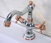 Cromo pulido antiguo cobre rojo latón dos asas un agujero lavabo de baño fregadero giratorio grifo mezclador grifo mnf901