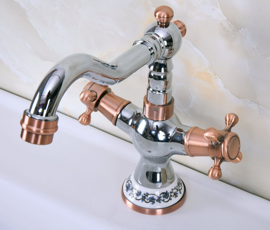 Polished Chrome Antique Red Copper Brass Two Handles One Hole Bathroom Basin Kitchen Sink Swivel Spout Faucet Mixer Tap Mnf901