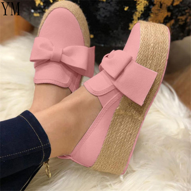 Hot Casual Women Sneakers Woven Ladies Suede Bow Tie Slip On Shallow Comfort Vulcanized Shoes Platform Female Flats Footwear