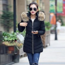 Winter 2019 New Female Long Section Slim Cotton Jacket Large Fur Collar Down Jacket Cotton Coat Women's Cotton Coat(China)
