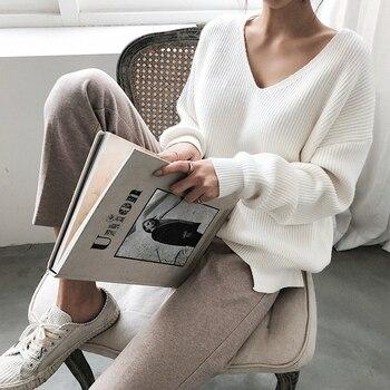 цена на Banulin Womens Sweaters 2020 Autumn Winter V Neck batwing Sleeve Pullover Sweater Irregular Hem Knitting Casual Solid Tops