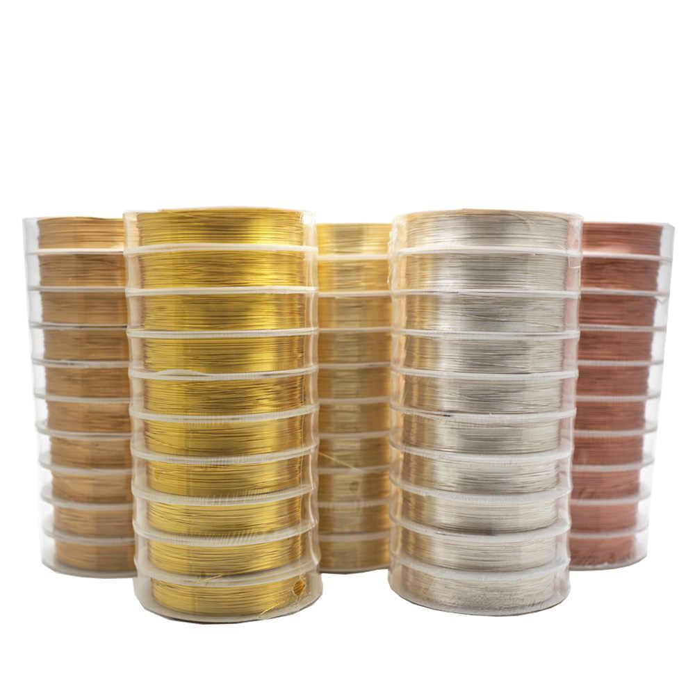 Kleurvast Koperdraad Voor Armband Ketting Sieraden Diy Accessoires 0.2/0.25/0.3/0.5/0.6/0.7/1.0Mm Craft Kralen Draad HK018