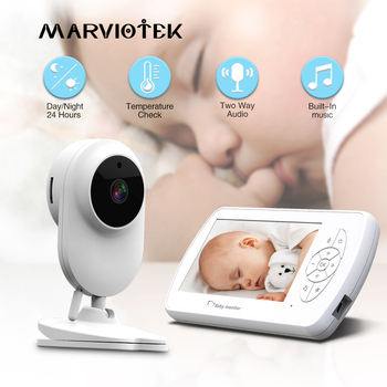 Baby Monitor Two way Audio Nanny Video 4.3 inch Baby Security Camera Babyphone with Camera Night Vision Temperature Detection