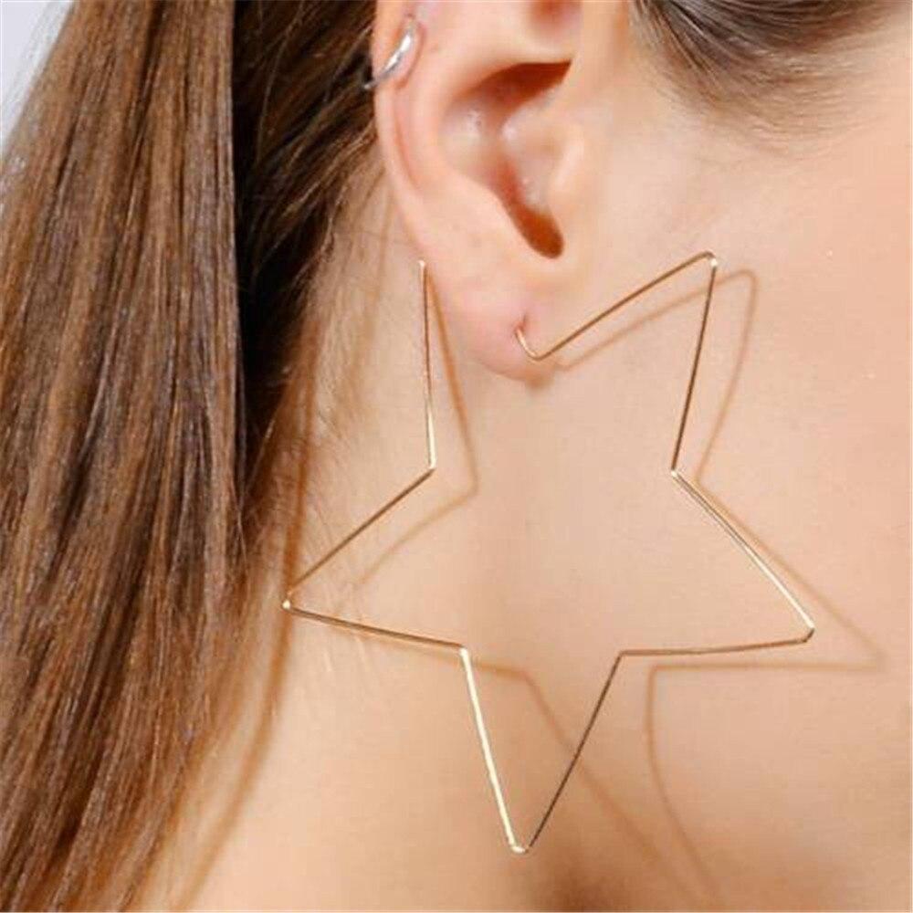 Fashion Women Girl Hollow Simple Large Heart Star Shaped Hoop Pendant Earrings Europe Style Earring Jewelry
