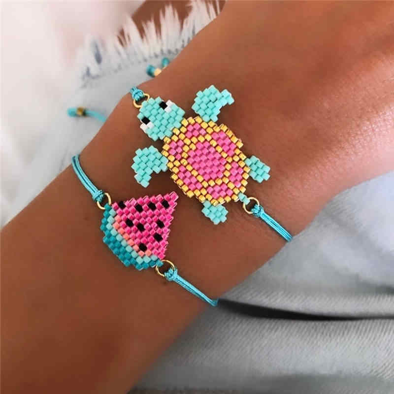 Go2boho 2pcs/lot Perles MIYUKI Bracelet Tortoise Pulseras Mujer 2019 Women Watermelon Jewelry Child Girl Animal Bracelets Summer