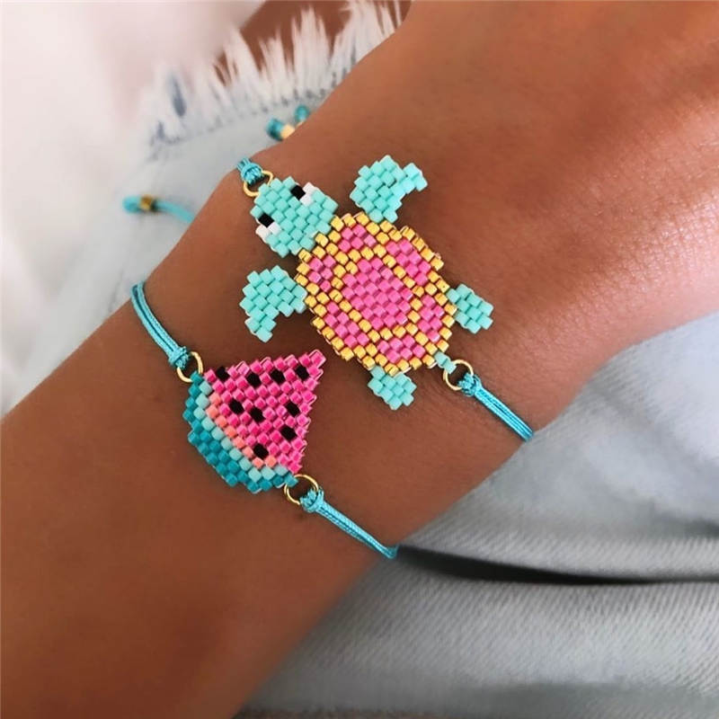Go2boho Summer Bracelet 2020 Women Boho MIYUKI Bracelets Pulseras Mujer Tortoise Watermelon Jewelry Child Animal Jewellry Gift