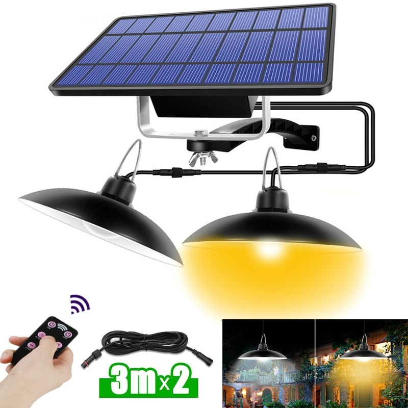 Double Headed Outdoor Solar Chandelier With Remote-controlled Multifunction Outdoor Solar Pendant Light For Garden Lighting