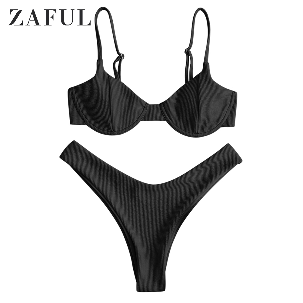 ZAFUL New High Cut Thong Bathing Suit High Waist Swimsuit Solid Swimwear Women Brazilian Biquini Swim Beach Micro Bikini Set