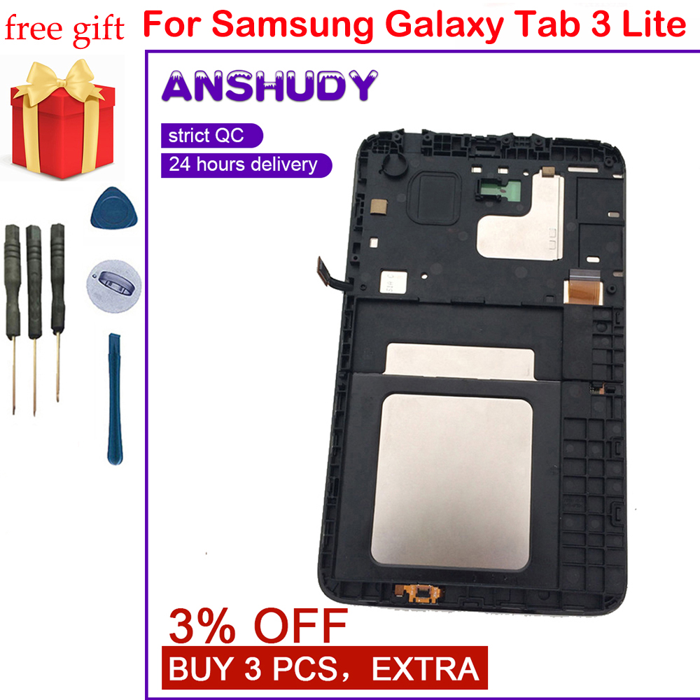 For Samsung Galaxy Tab 3 Lite 7.0'' T116 T113 T111 T110 Touch Screen Digitizer SensorLCD Display Monitor Panel Assembly + Frame