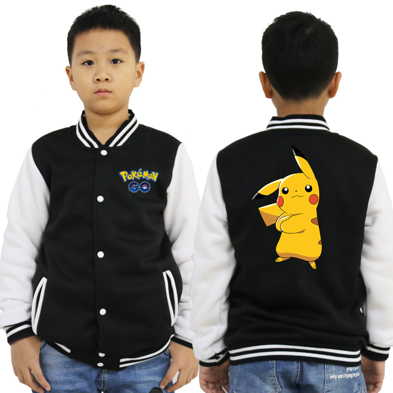 New Pokemon Print Baseball Jacket Gray Casual Hoody Kids Outerwear 2019 Spring Boys Girl Clothes Tops for 2 3 4 6 8 10 Years Old image