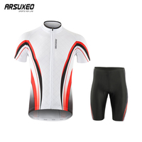 ARSUXEO Mens Cycling Jersey Bicycle Clothe Team Short Sleeves MTB Bike Jersey Set Quick Dry Ropa Ciclismo Hombr With Pad