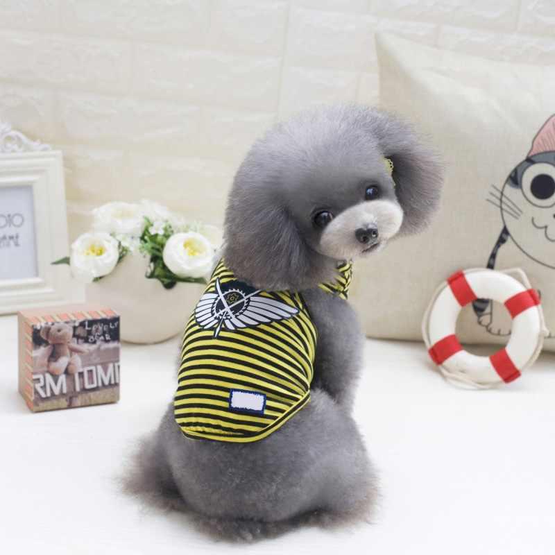 Tatlı Pet köpek giysileri t-shirt yavru sevimli spor futbol forması kedi çizgili yelek kıyafet bahar evcil hayvan mont yelek köpek n06