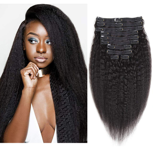 Kinky Straight Hair Clip in Human Hair Extensions 120g Maxine Hair Yaki Straight Human Hair Clip in Hair Extensions Full Head